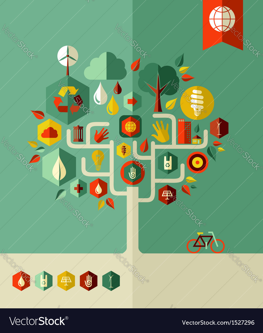 Eco conservation city tree vector image