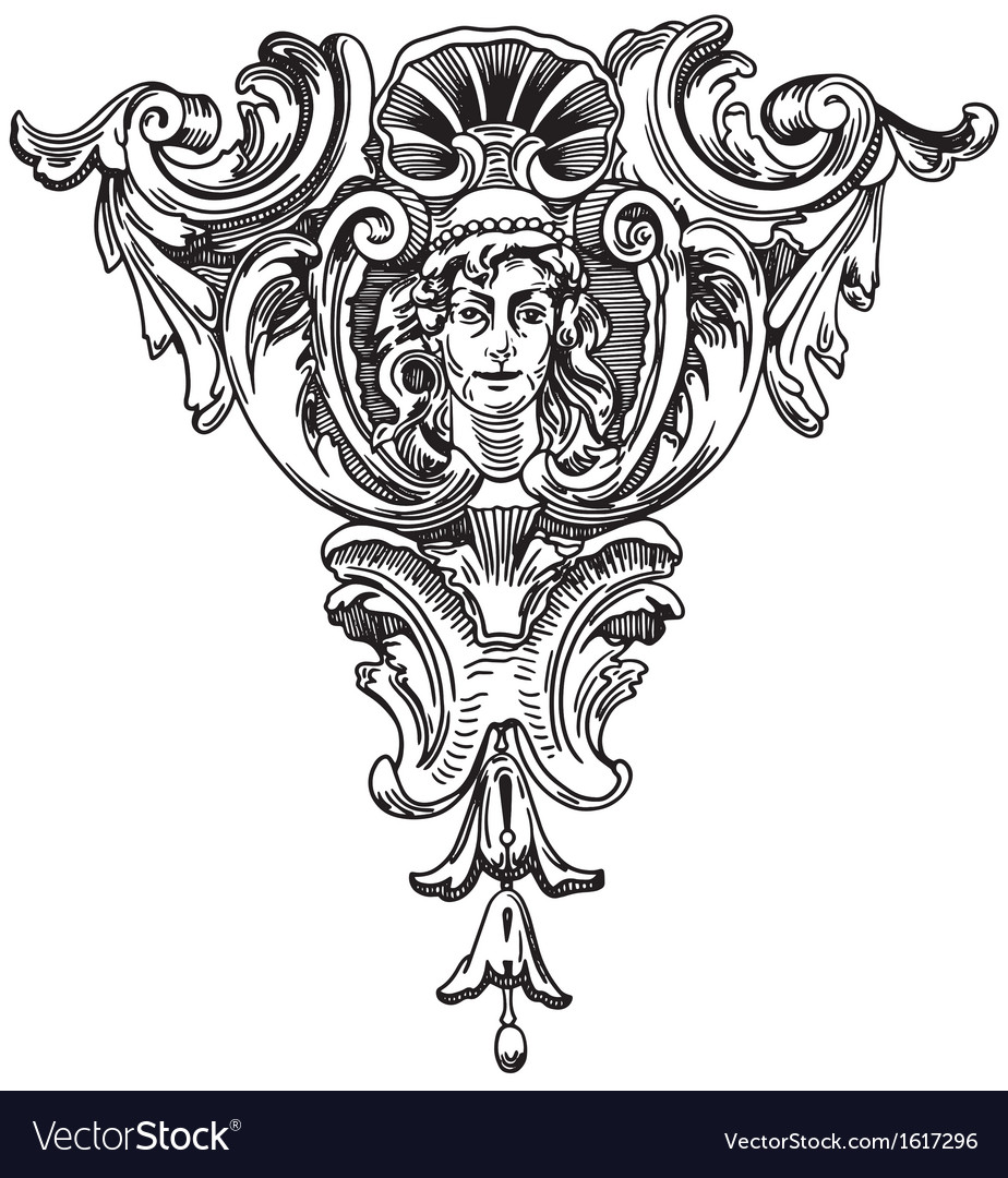 Element of the facade of a historic building vector image