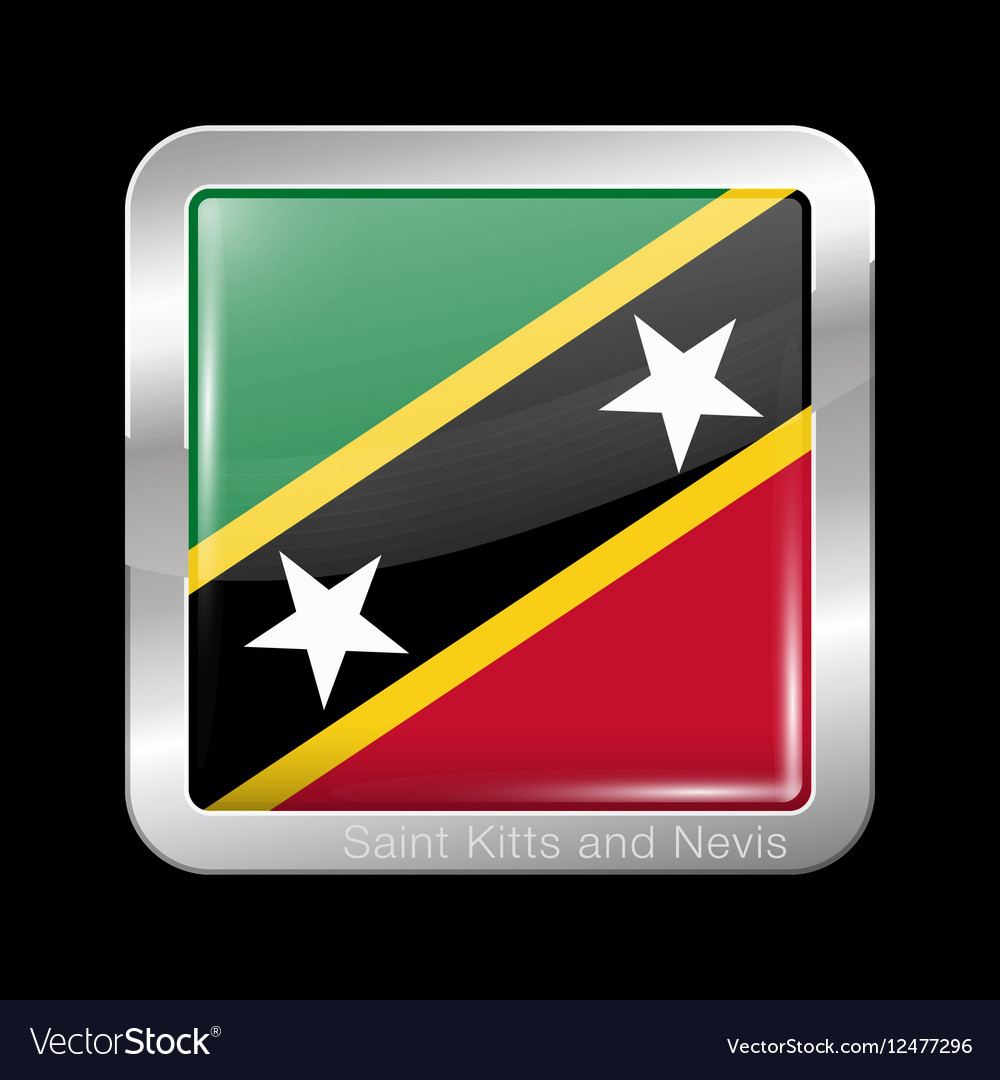 Flag of Saint Kitts and Nevis Metal Square Icon