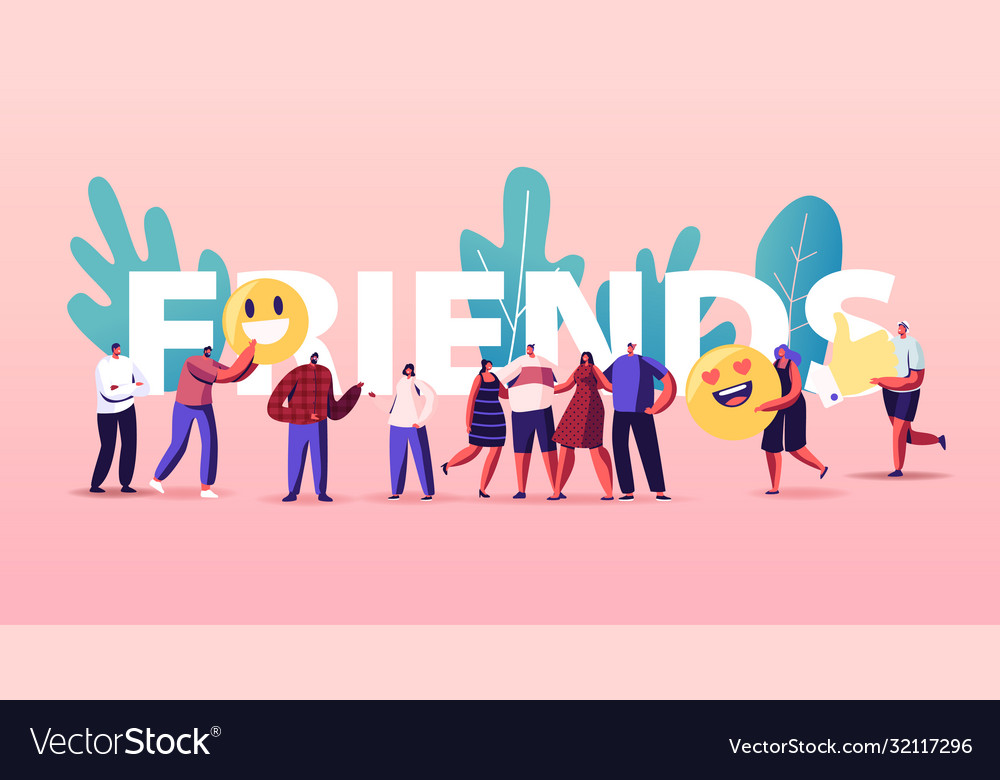 Friendship and friends concept tiny people group