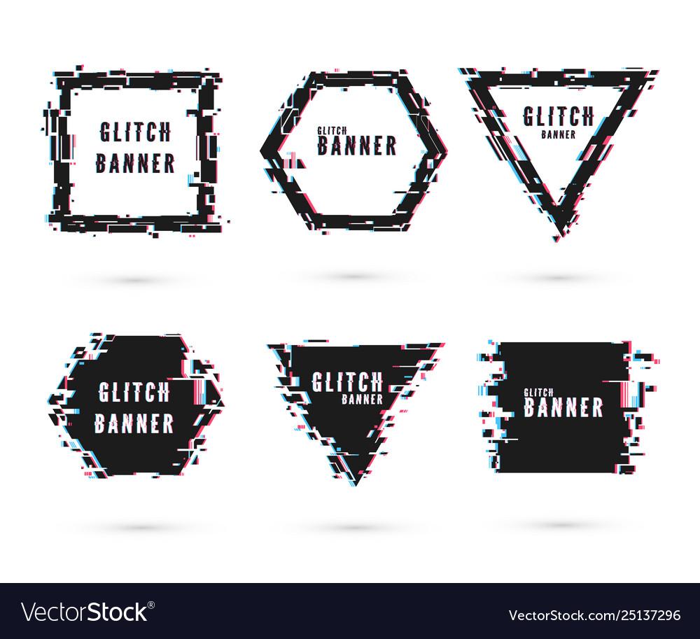 Geometric shape banner with glitch effect digital