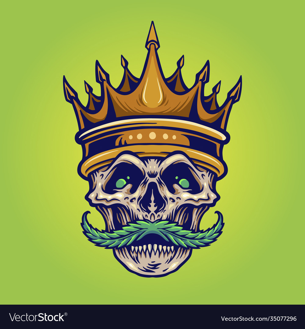 Gold crown angry skull mustache with weed