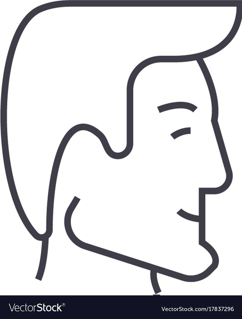 Human head businessman avatar line icon