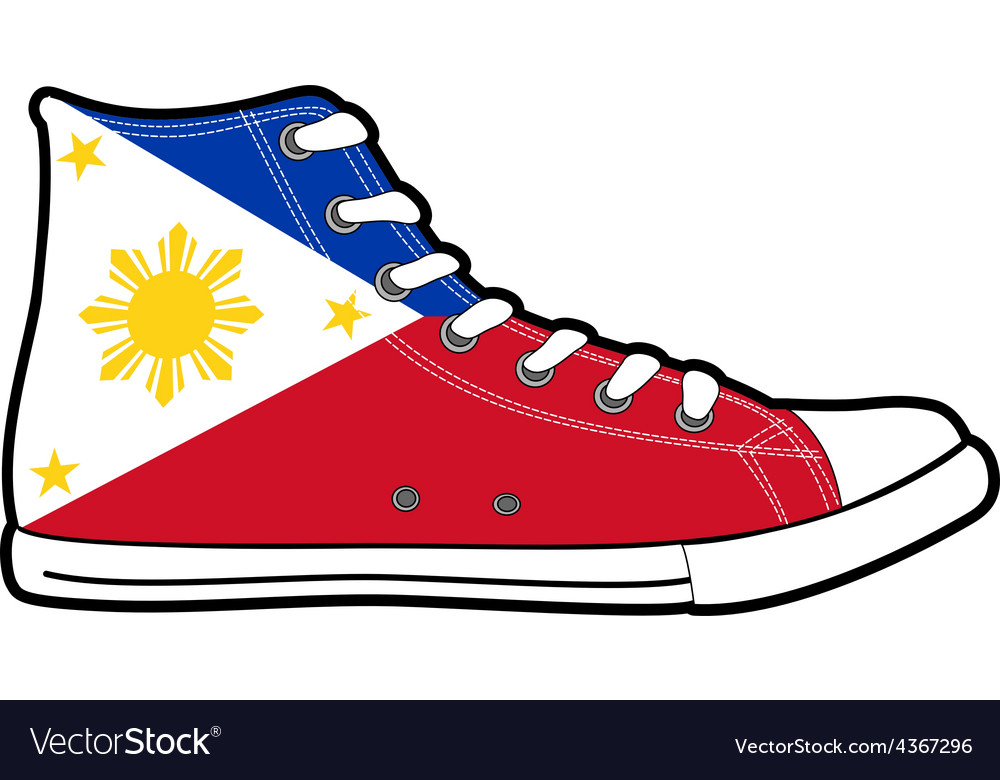 Modern sport shoes with Philippines flag