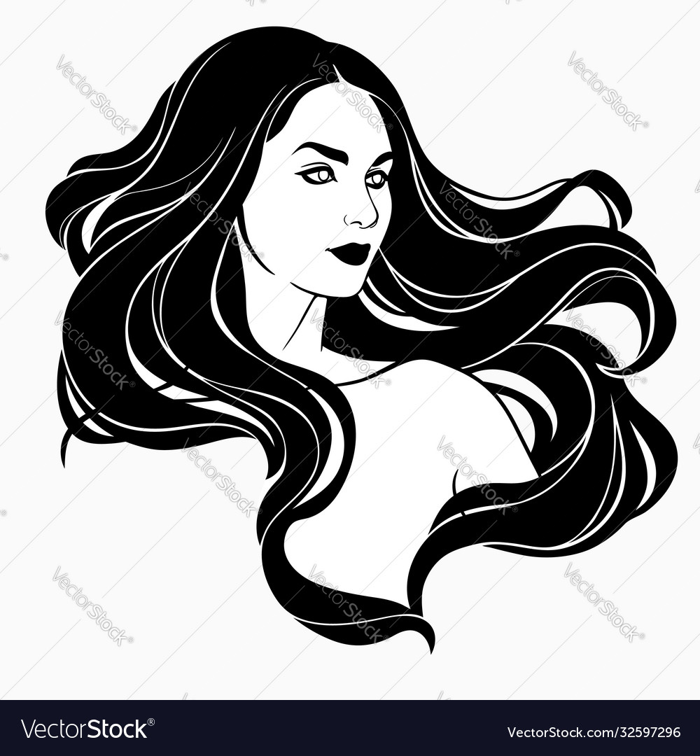 Portrait a girl with long flying hair
