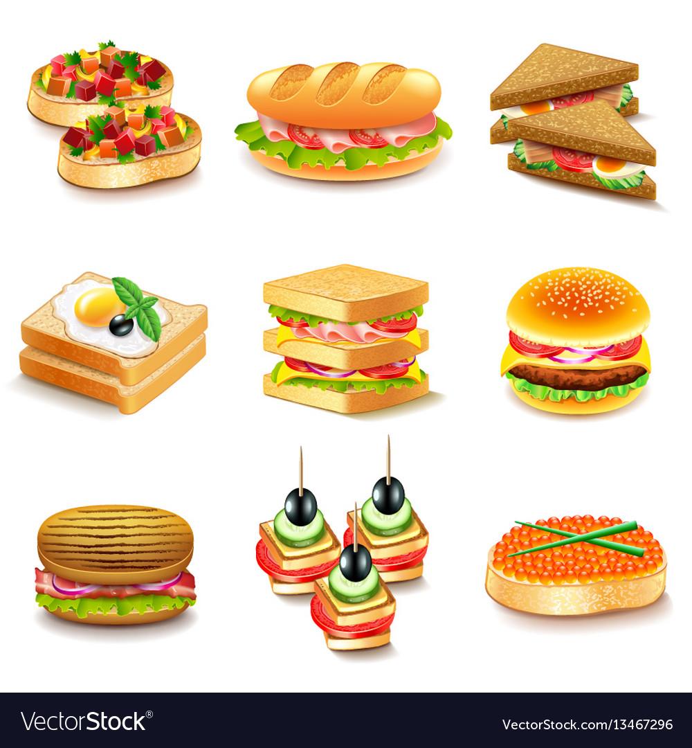 Sandwiches icons set