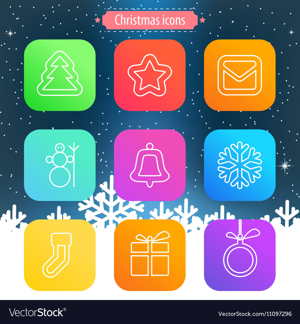Set of flat outlined Christmas icons on white