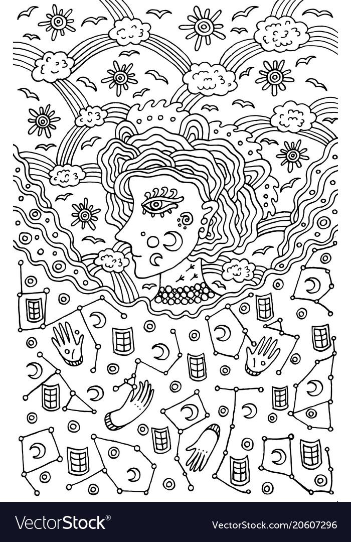 Surreal girl goddess of night and day sky tribal