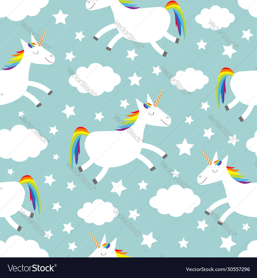 Unicorn jumping cloud star in sky seamless vector