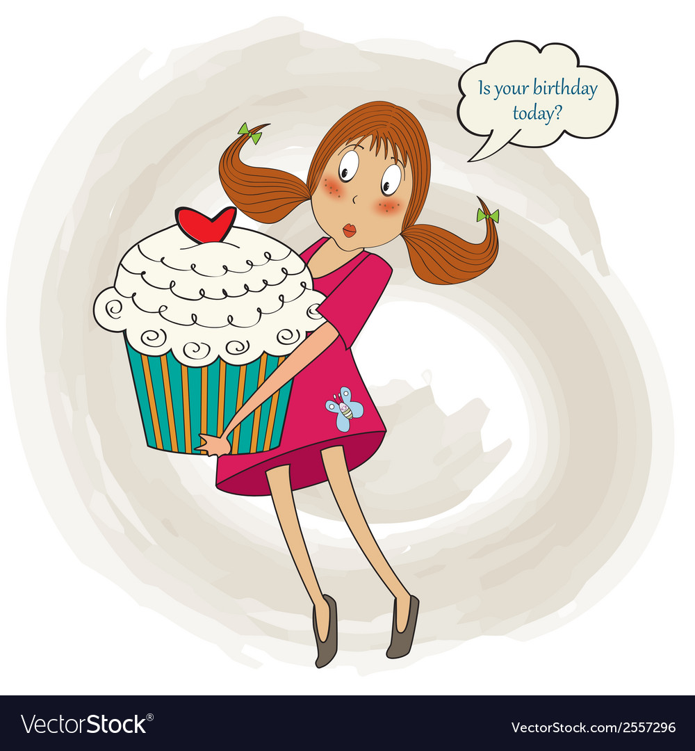 Wondrous Young Pretty Girl Who Carries A Big Cake Birthday Vector Image Funny Birthday Cards Online Overcheapnameinfo