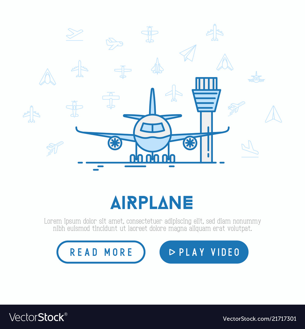 Airplane on the runway concept with thin line icon