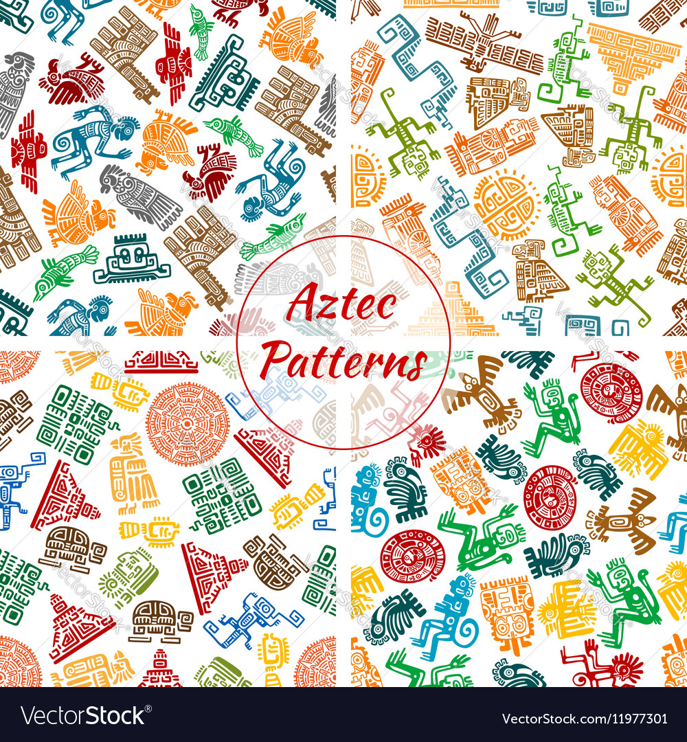 Aztec seamless patterns set vector image
