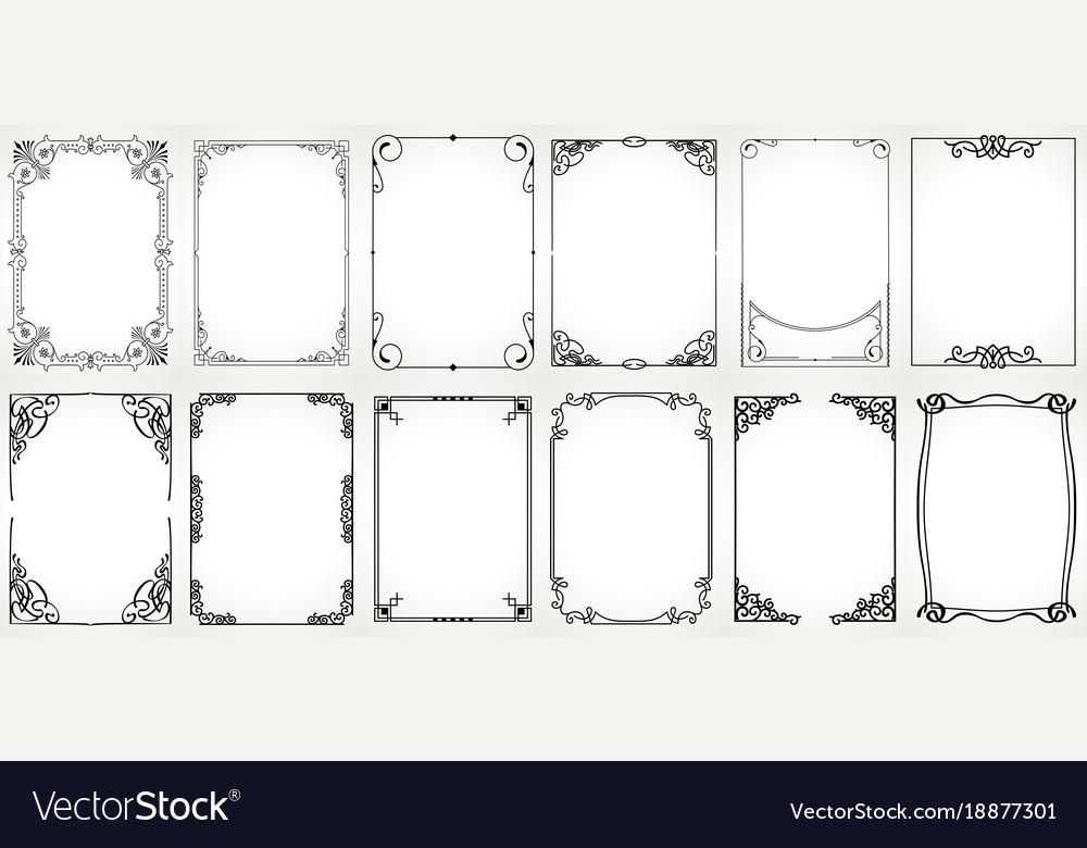 Big set template of decorative vintage frames