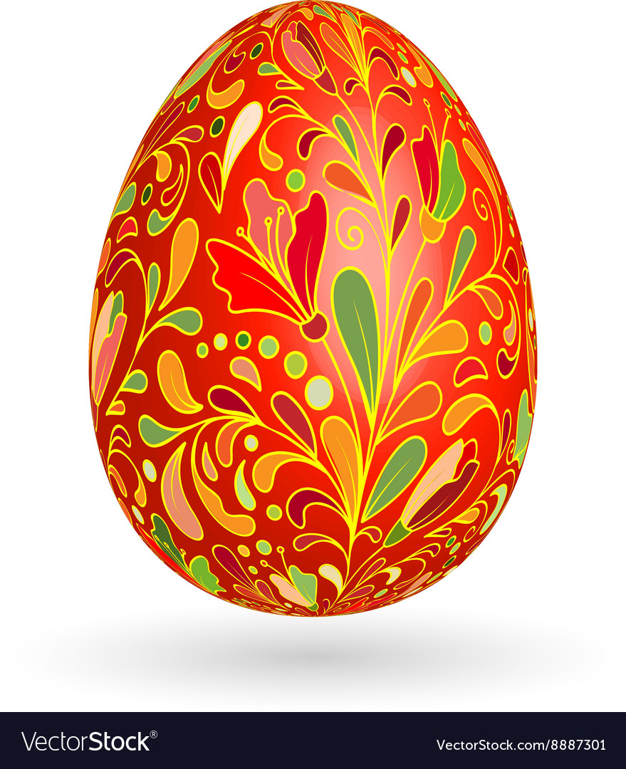 Colorful easter red egg with ornate doodle floral