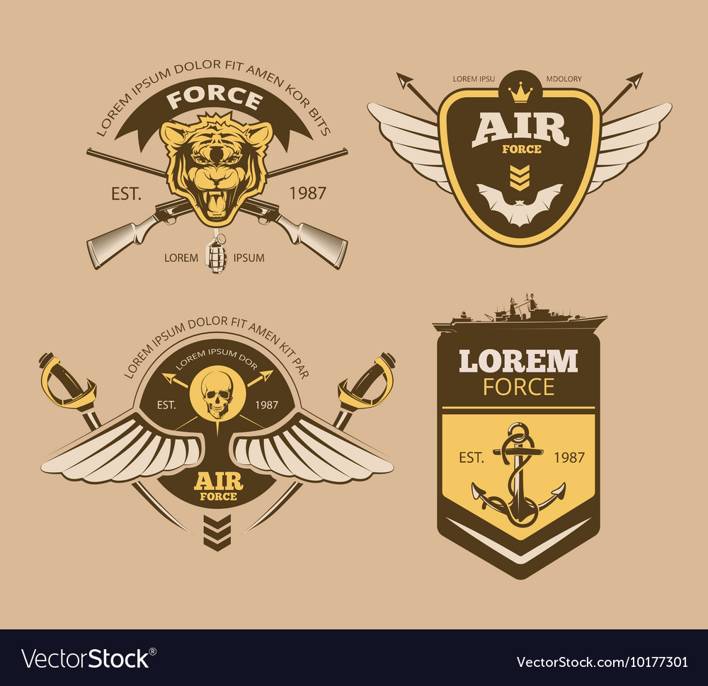 Desert military vintage labels
