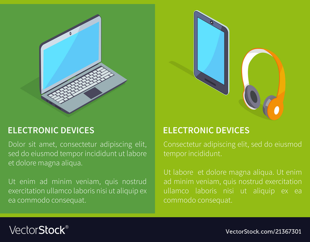 Electronic devices laptop and headphones tablet