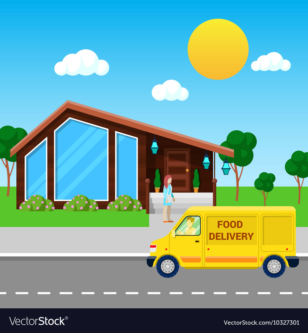 Food Delivery Service Truck Brought Order