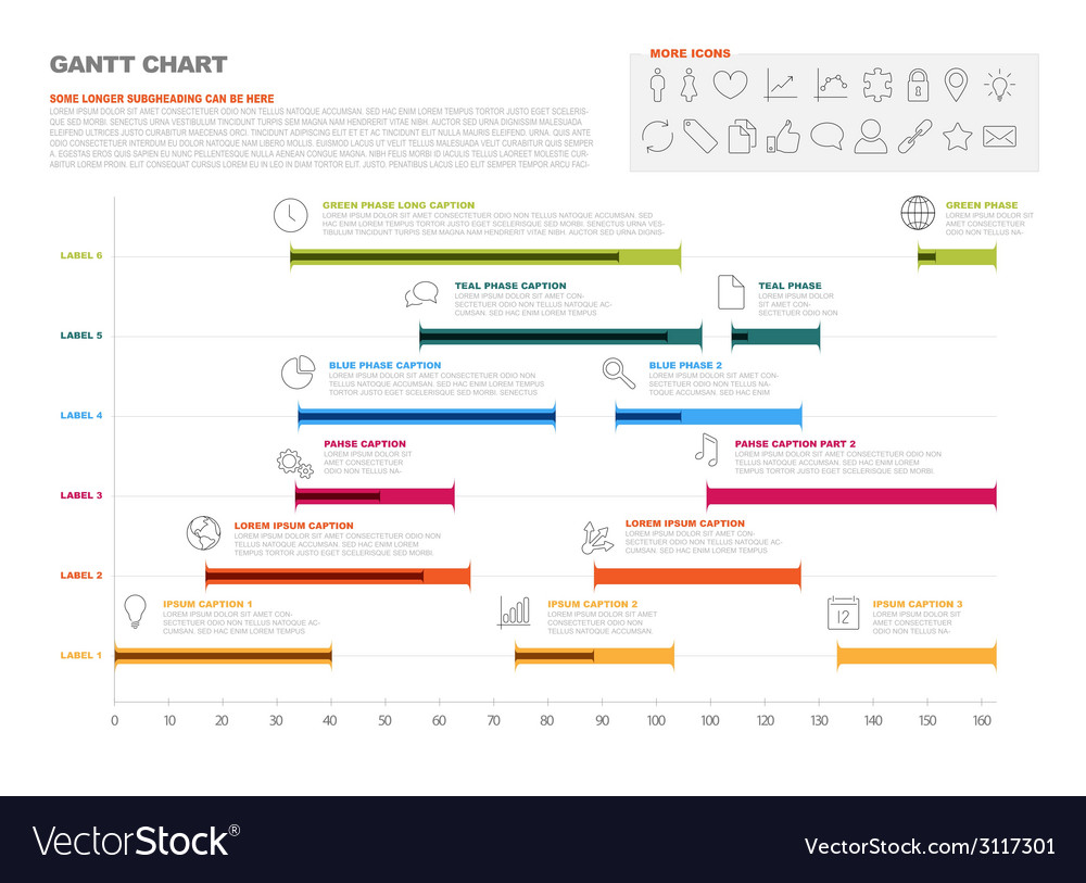 gantt project production timeline graph royalty free vector