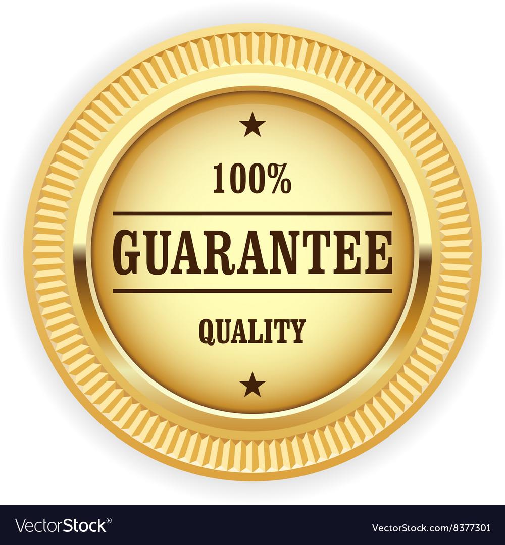 Golden medal - 100 quality guarantee symbol