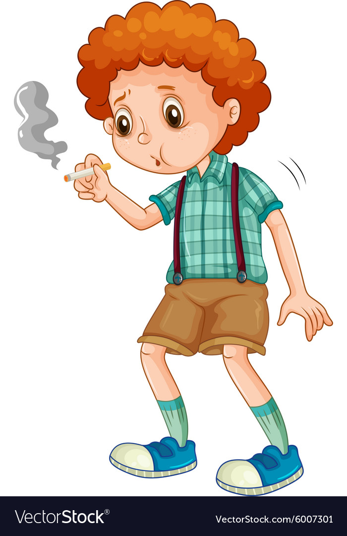 Little boy trying to smoke cigarette vector image