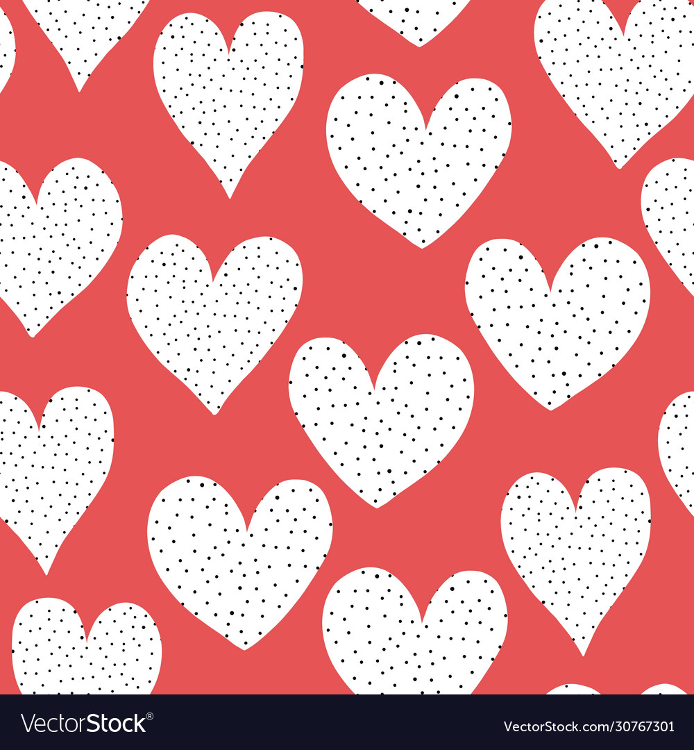 Seamless pattern white doodle hearts with black