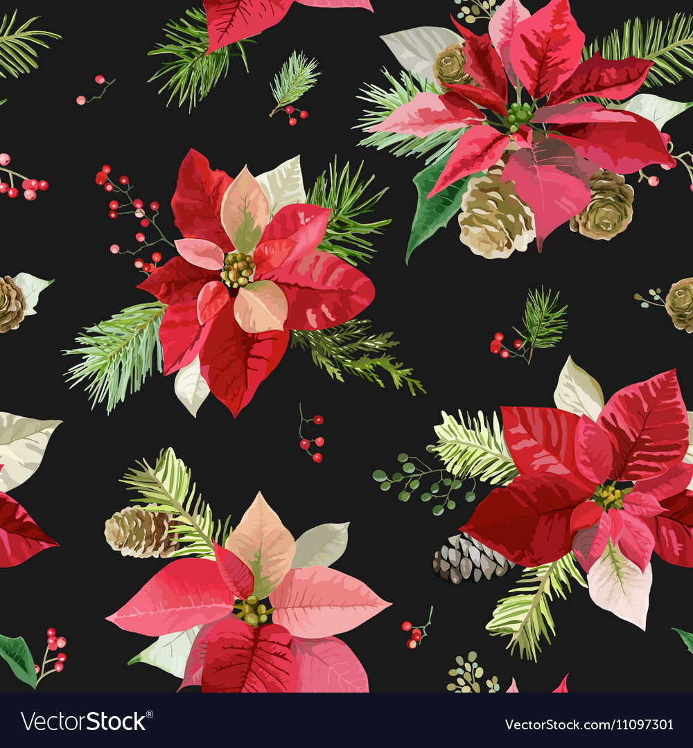Vintage Poinsettia Flowers Background Seamless