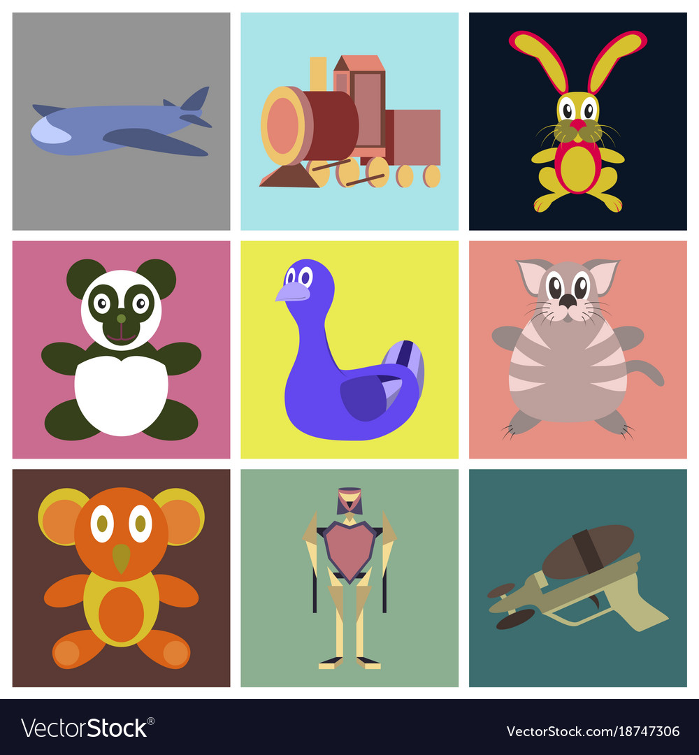 Assembly flat icons kids toys