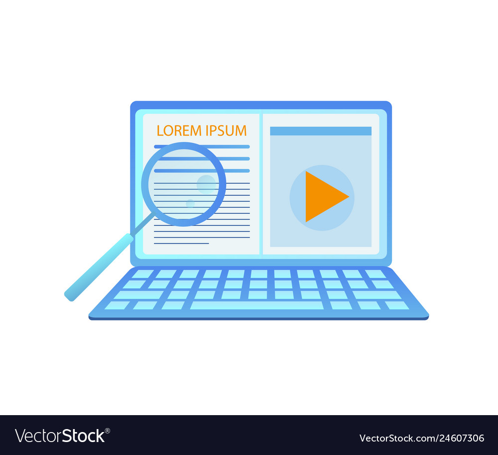 Big laptop with opened web page and magnifier