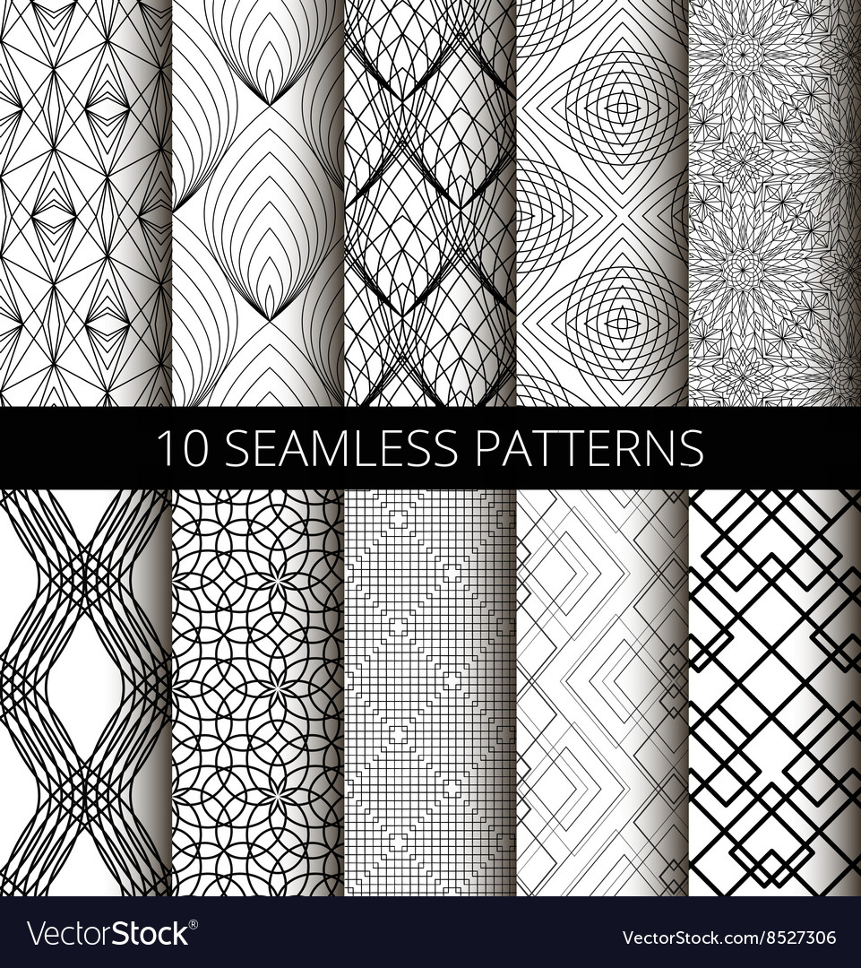 Black White Line Patterns Set