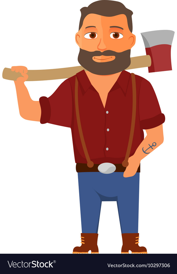 Cartoon lumberjack character with axe