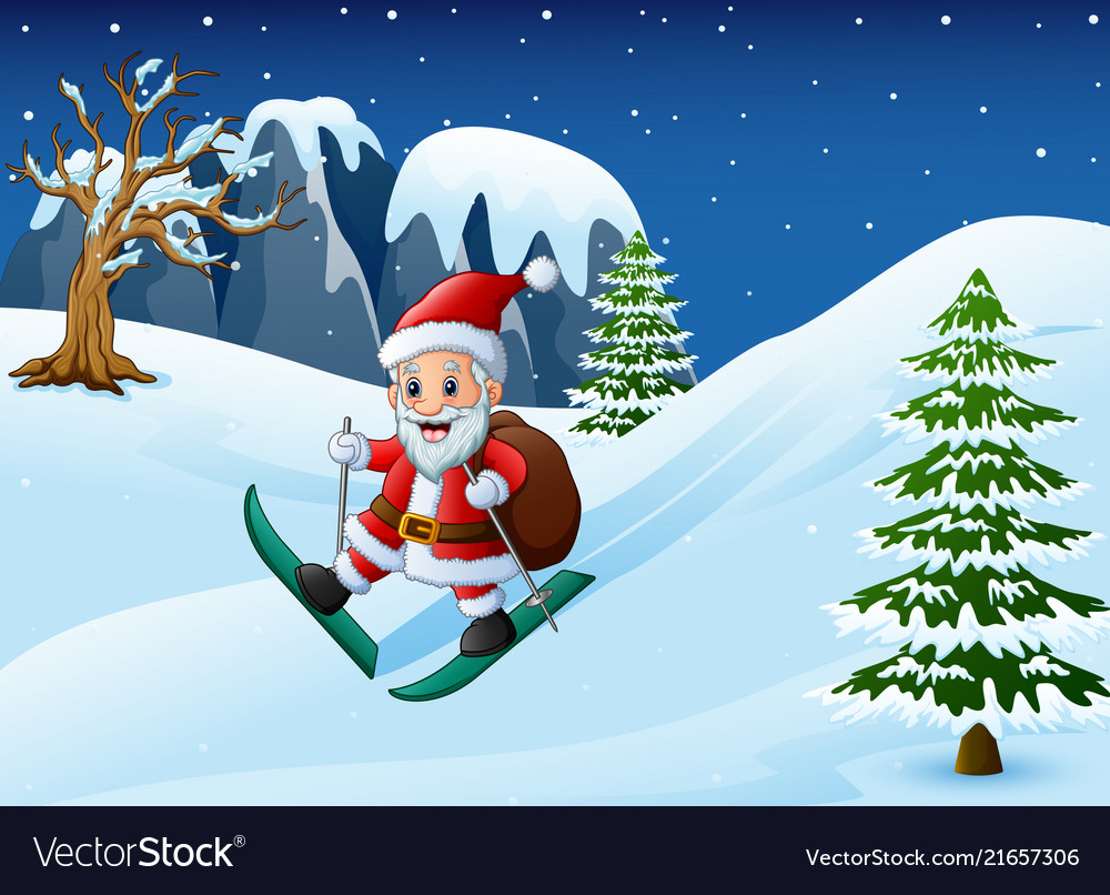 Cartoon santa claus skiing with sack of gifts on s