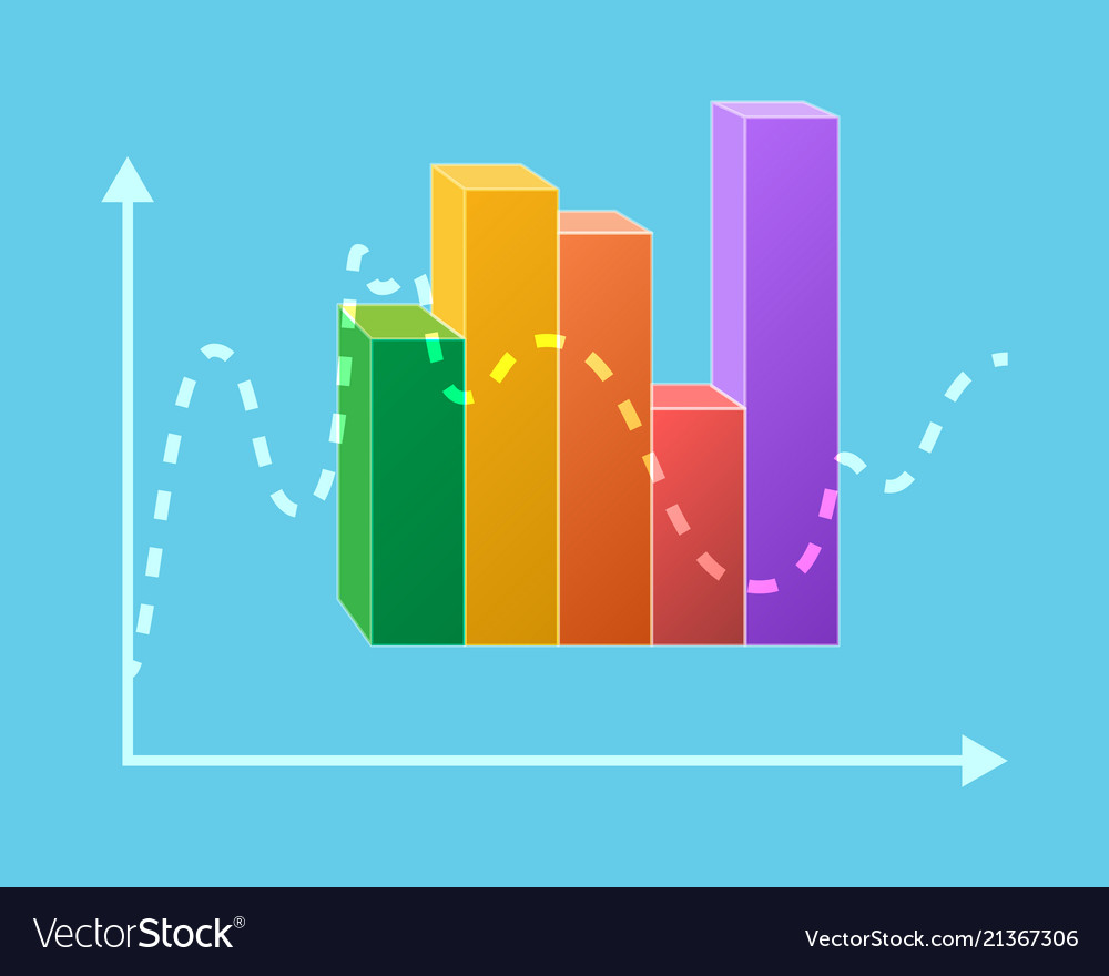 Colorful statistical chart isolated ups and downs
