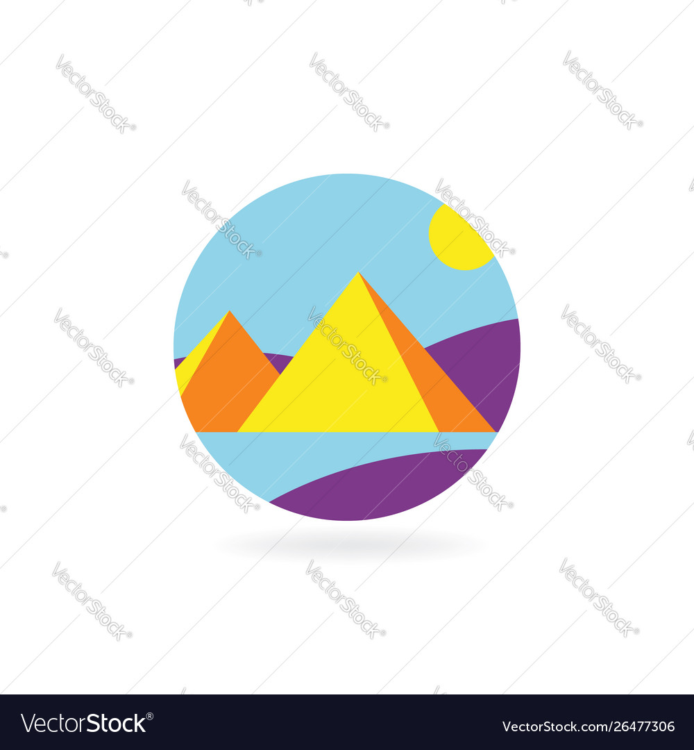 Concept design flat icon for travel to pyramids