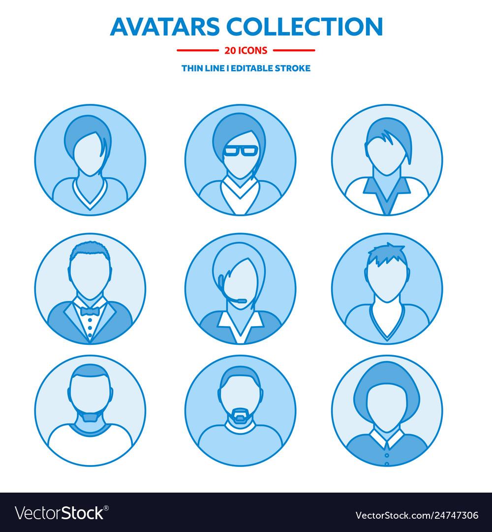Flat modern minimal line avatar icons business