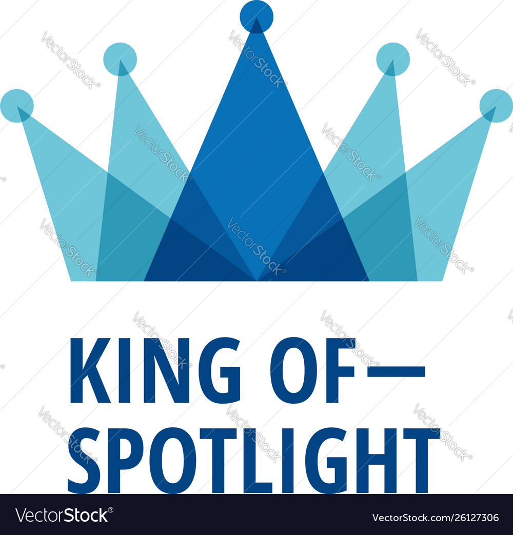 Layered blue king crown with spotlight logo sign