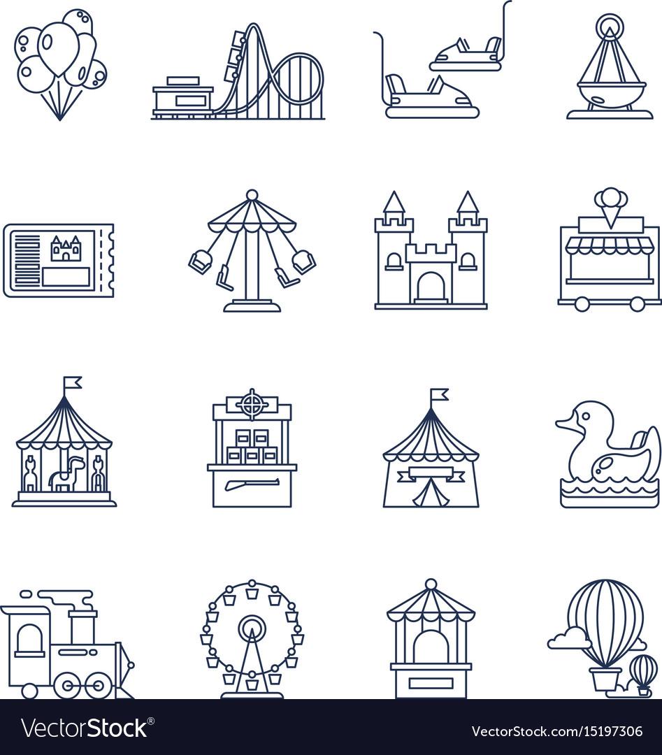 Luna park amusement line icons