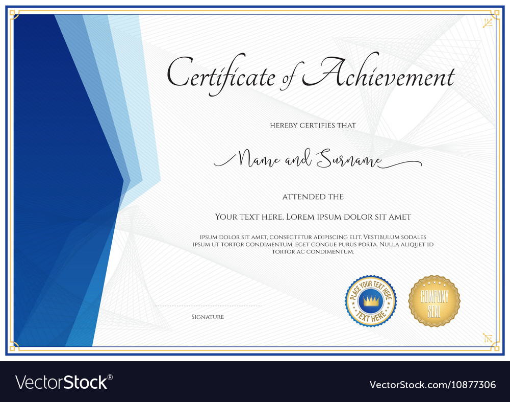 Modern certificate template for achievement vector image