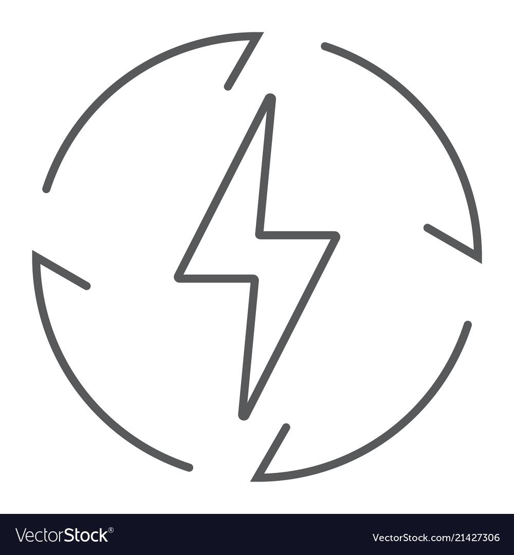 Renewable energy thin line icon ecology energy
