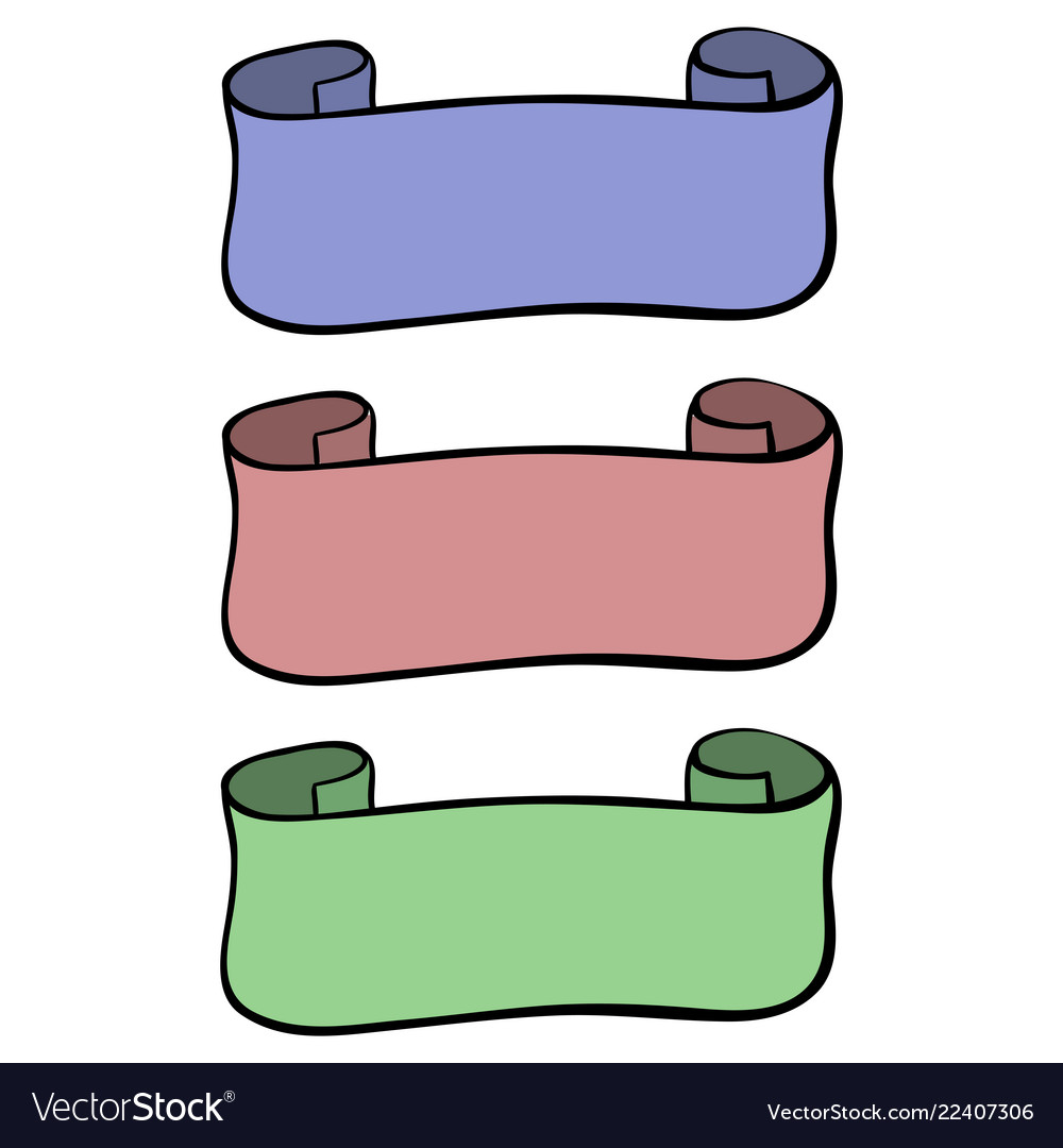 Ribbon banner colored hand drawn sketch