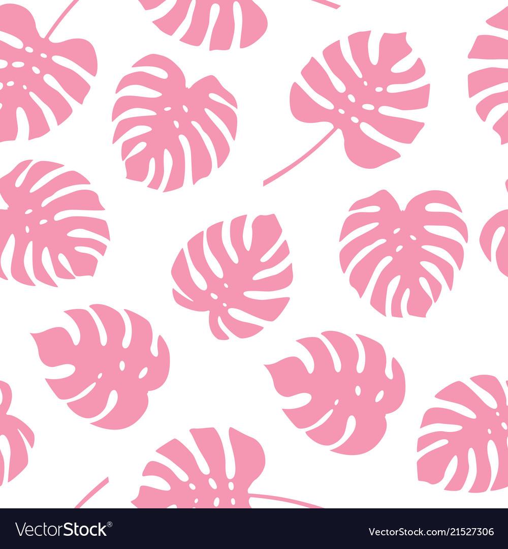 Seamless pattern of pink monstera leaves