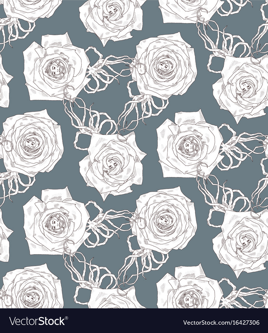 Seamless pattern with abstract cartoon rose