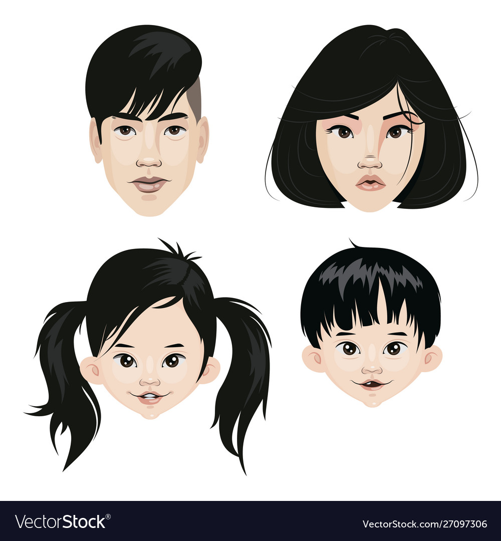 Set a family asian nationality a collection