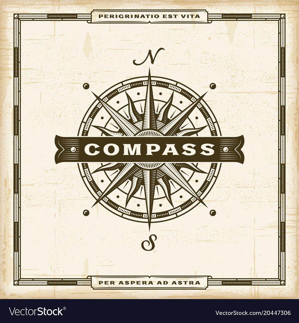 Vintage compass label