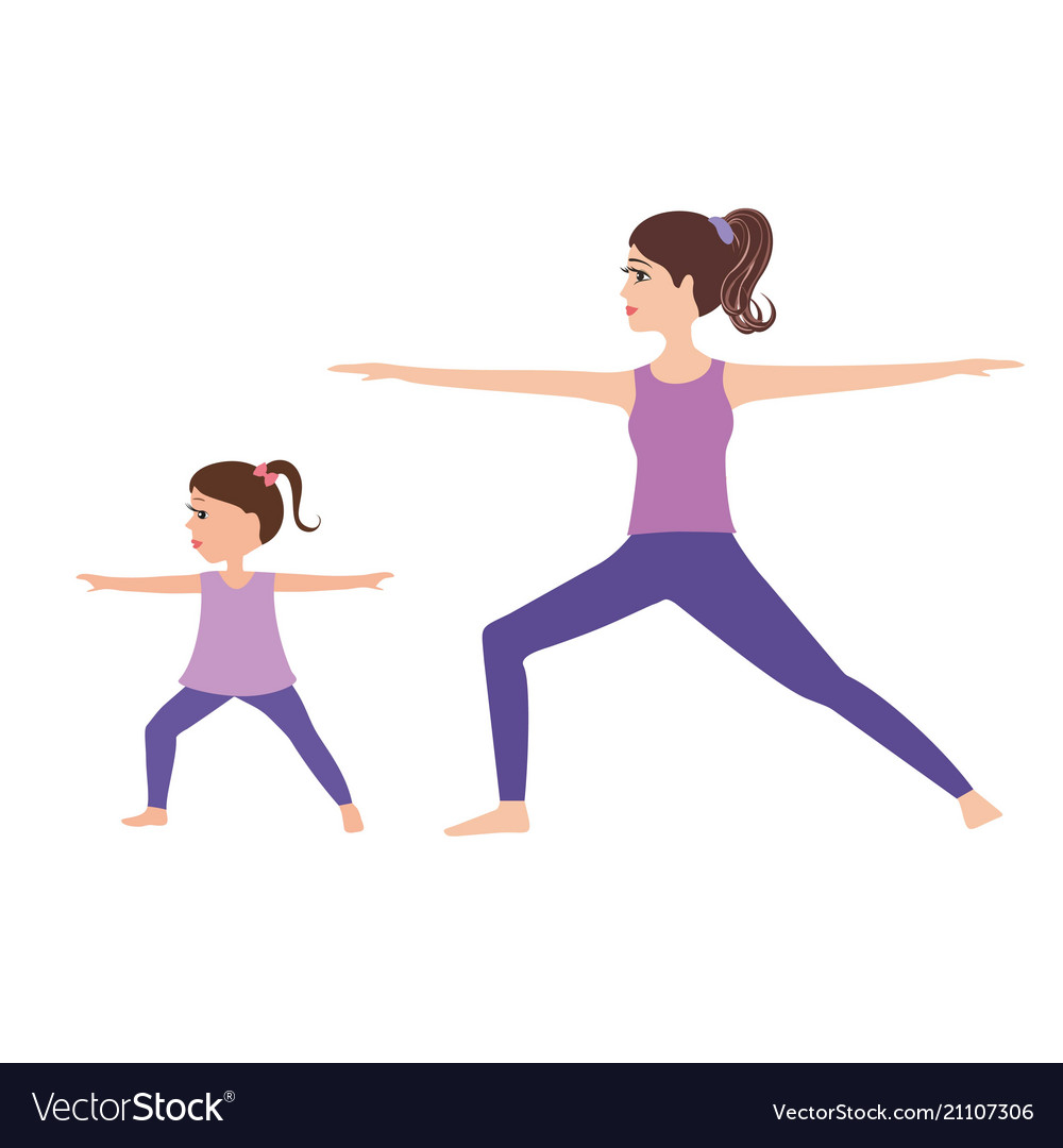 Young mother and daughter doing yoga together