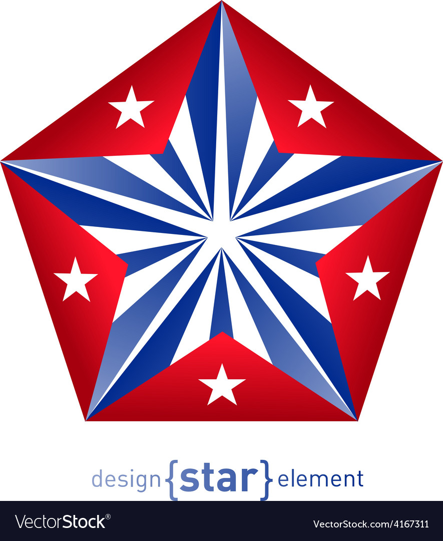3d Abstract Star With Cuba Flag Colors