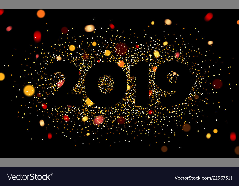 black 2019 new year background with gold confetti vector image