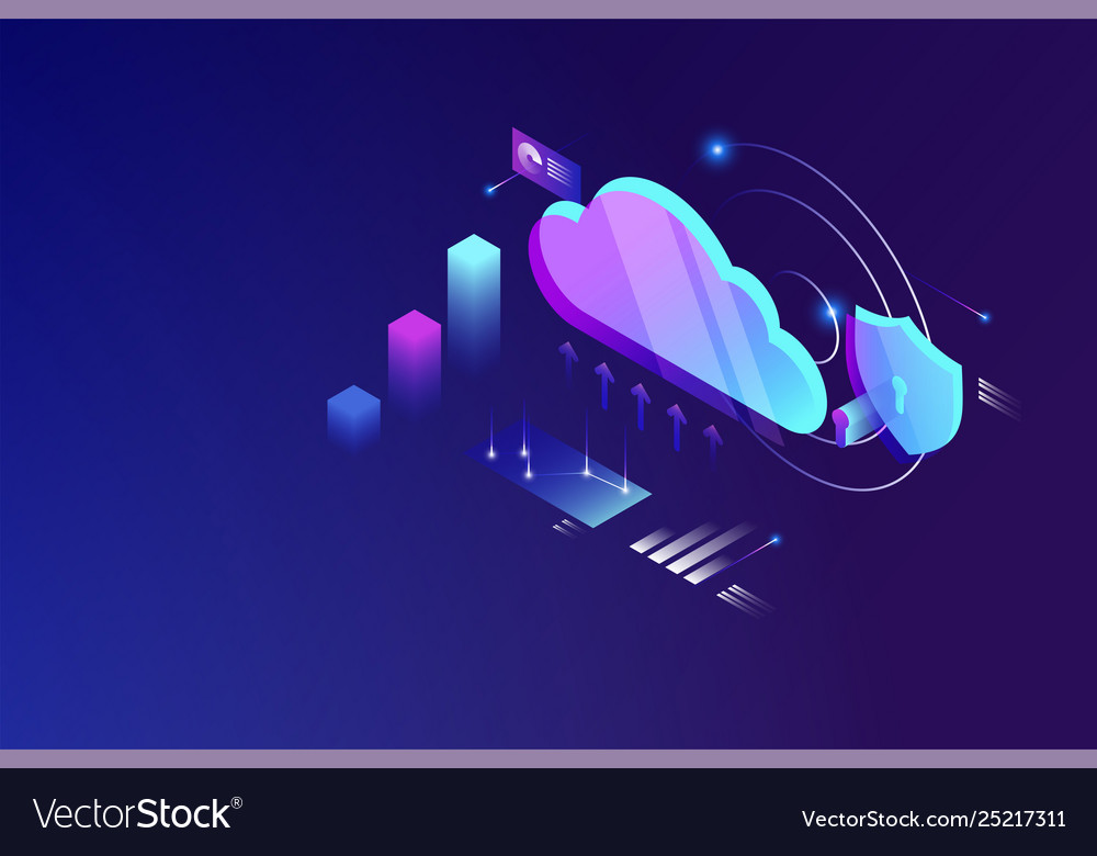 Cloud data computing isometric concept cloud