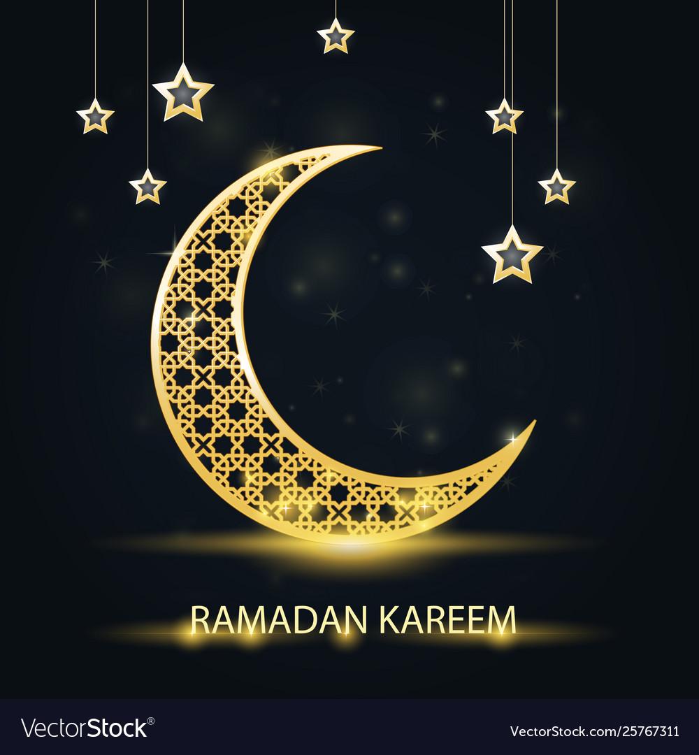 Golden crescent with arabic pattern - ramadan