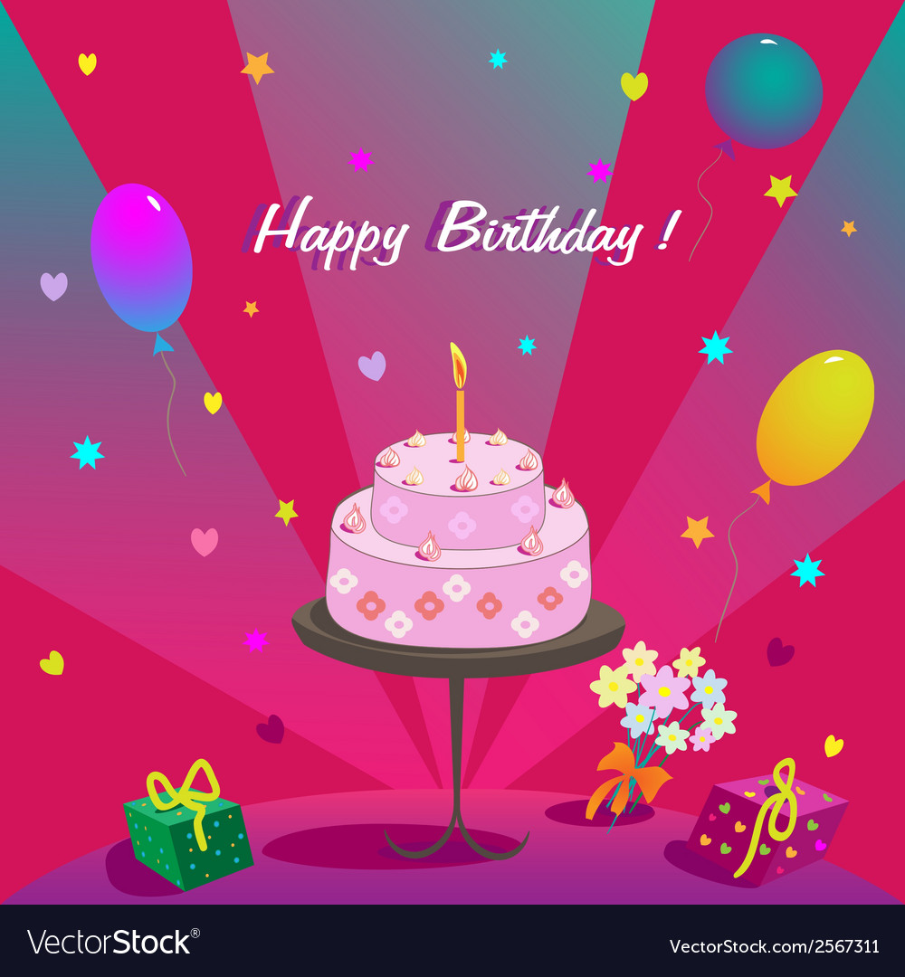 Happy Birthday Gifts Cake Ballons And Stars Vector Image