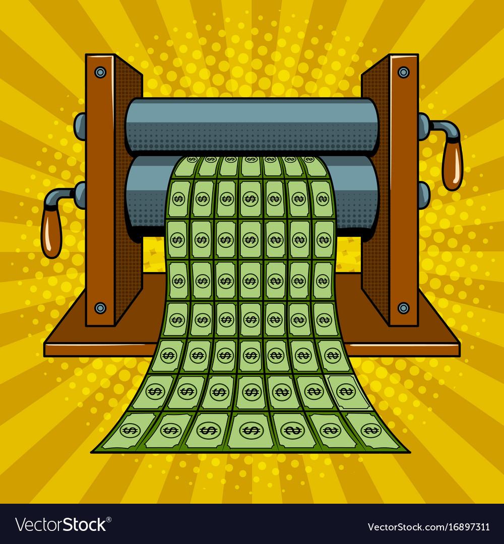 Printing machine prints money pop art